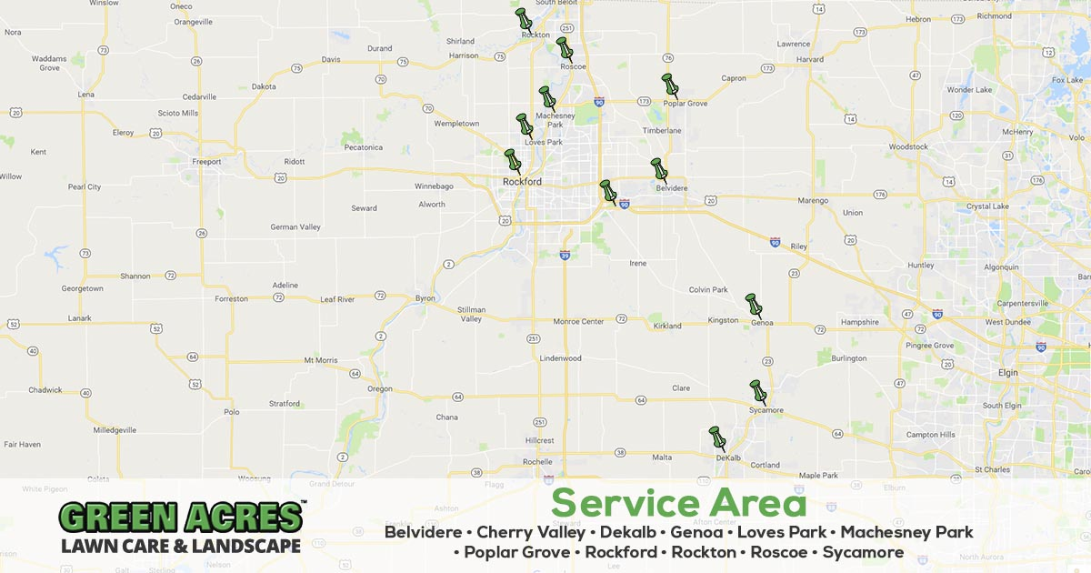 Service area for Green Acres Lawn Care & Landscaping Group in Illinois